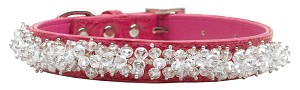 Faux Croc Beaded Collar Pink Medium