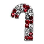 Holiday 10mm Slider Charms Red Candy Cane .