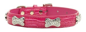 Faux Croc Crystal Bone Collars Pink Small
