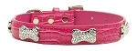 Faux Croc Crystal Bone Collars Pink Extra Small