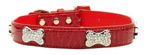 Faux Croc Crystal Bone Collars Red Extra Small