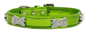 Metallic Crystal Bone Collars Lime Green Extra Small