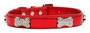 Metallic Crystal Bone Collars Red Large