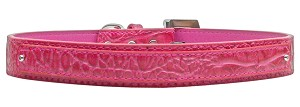 18mm Two Tier Faux Croc Collar Pink Medium