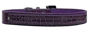 18mm Two Tier Faux Croc Collar Purple Medium