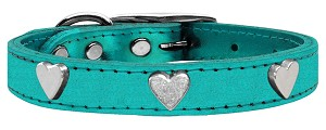 Metallic Heart Leather Turquoise Metallic 10