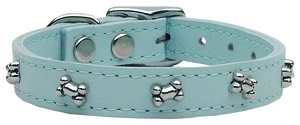 Bone Leather Dog Collar Baby Blue 26