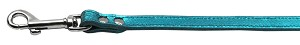 Fashionable Leather Leash Metallic Turquoise 1/2'' Wide