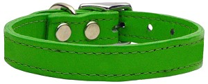 Plain Leather Collars Emerald Green 20