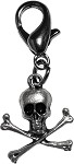 Pewter Skull and Crossbones Lobster Claw Charm