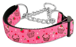 Cupcakes Nylon Ribbon Collar Martingale Medium Bright Pink