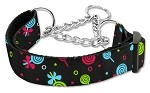 Lollipops Nylon Ribbon Collar Martingale Medium Black