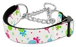 Lollipops Nylon Ribbon Collar Martingale Medium White
