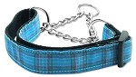 Plaid Nylon Collar Martingale Blue Medium