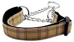 Plaid Nylon Collar Martingale Khaki Medium