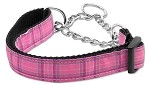 Plaid Nylon Collar Martingale Pink Medium
