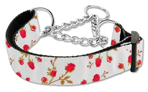 Roses Nylon Ribbon Collar Martingale Large Red