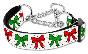 Christmas Bows Nylon Ribbon Collar Martingale Medium