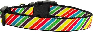 Striped Rainbow Nylon Ribbon Collars Medium