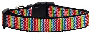 Zigzaggy Rainbow Nylon Ribbon Dog Collars Medium