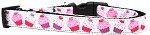 Pink and Purple Cupcakes Nylon Ribbon Dog Collar Medium Narrow