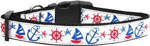 Anchors Away Nylon Ribbon Dog Collar Large