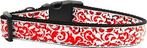 Red and White Shimmer Dog Collar Large