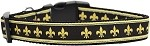 Black and Gold Fleur de Lis Nylon Dog Collars Medium