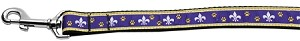 Purple and Yellow Fleur de Lis Nylon Ribbon Pet Leash 1 inch wide 4Ft Lsh