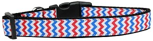 Patriotic Chevrons Nylon Ribbon Dog Collar Large