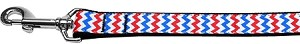 Patriotic Chevrons Nylon Ribbon Pet Leash 1 inch wide 4Ft Lsh