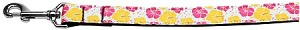 Pink and Yellow Hibiscus Flower Nylon Dog Leash 4 Foot