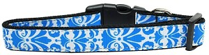 Damask Nylon Dog Collar Large Blue