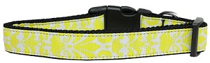 Damask Nylon Dog Collar Medium Yellow