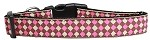 Pink Checkers Nylon Dog Collar Medium