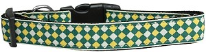 Green Checkers Nylon Dog Collar Medium