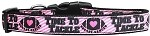 Tackle Breast Cancer Nylon Dog Collar Medium