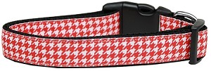 Red Houndstooth Nylon Dog Collar Large