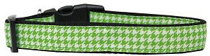 Lime Green Houndstooth Nylon Dog Collar Large