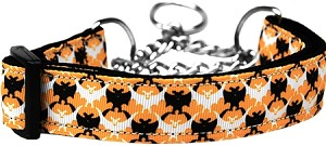 Bat Argyle Nylon Dog Collar Large Martingale