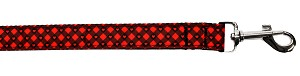 Red Plaid Hearts Nylon Pet Leash 1in by 6ft