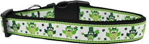 St. Patty's Day Party Owls Nylon Dog Collar XL