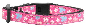 Butterfly Nylon Ribbon Collar Pink XS