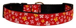 Butterfly Nylon Ribbon Collar Red Large