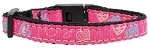 Crazy Hearts Nylon Collars Bright Pink Cat Safety