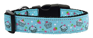 Cupcakes Nylon Ribbon Collar Baby Blue Medium