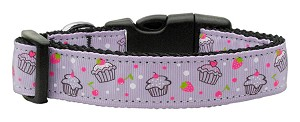 Cupcakes Nylon Ribbon Collar Purple Medium