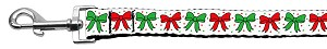 Christmas Bows Nylon Ribbon Leash 1 inch wide 4ft Long