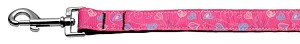 Crazy Hearts Nylon Collars Bright Pink 1 wide 6ft Lsh