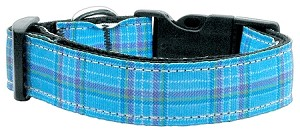 Plaid Nylon Collar Blue Large
